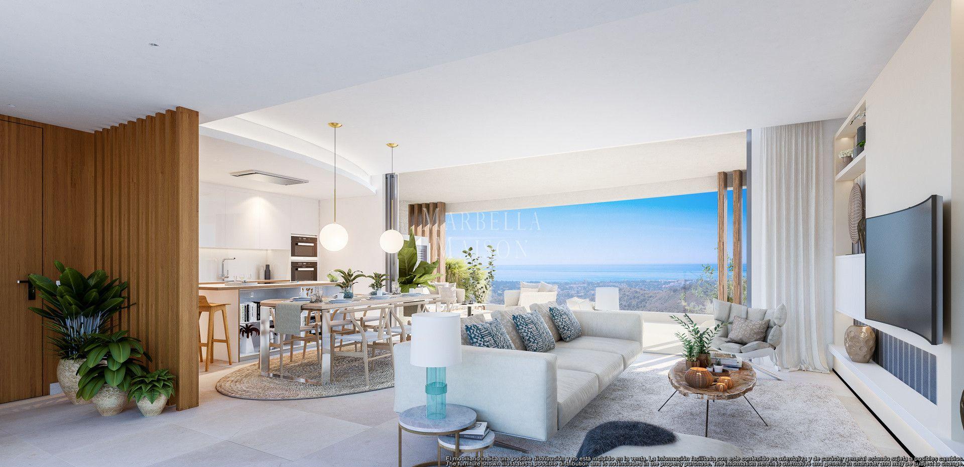 Ample ground floor apartment with panoramic views in Benahavis